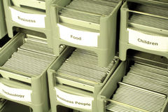 Diapositivas en cajones Imagen de archivo