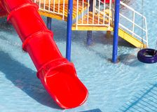 Diapositivas en el parque del agua Foto de archivo