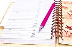 Diare et crayon lecteur rose Images stock
