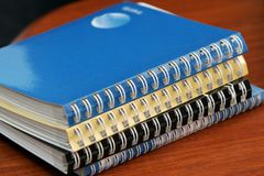 Diaries with spirals stock photography