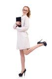Diario abbastanza femminile della tenuta di medico isolato sopra Fotografia Stock