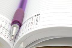 Diario aperto con una penna di sfera Immagine Stock