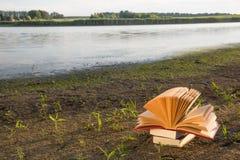 Diario aperto del libro della libro con copertina rigida, pagine smazzate sopra Fotografia Stock