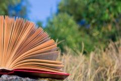 Diario aperto del libro della libro con copertina rigida, pagine smazzate sopra Immagini Stock
