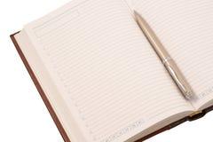 Diario aperto e penna (isolati) Immagine Stock Libera da Diritti