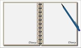 Diario con la penna Fotografia Stock