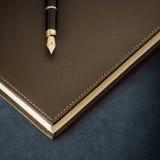Diario con la penna stilografica Fotografie Stock