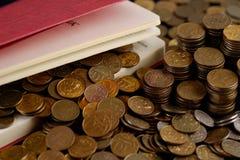 Diario con le monete Immagine Stock