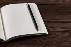 Diario con una matita fotografia stock