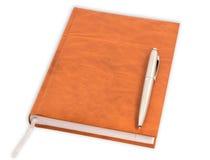 Diario con una penna Fotografie Stock Libere da Diritti