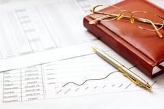 Diario con una penna, calcolatore Fotografie Stock Libere da Diritti