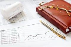 Diario con una penna, calcolatore Fotografia Stock
