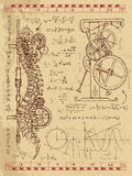 Diario de Frankentsein con el mecanismo del steampunk en espina dorsal humana de la anatomía stock de ilustración