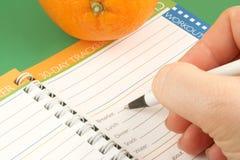 Diario de la dieta Fotografía de archivo libre de regalías
