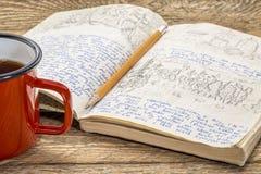 Diario de la expedición del viaje imagen de archivo libre de regalías