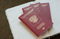 Diario de los pasaportes Fotografía de archivo libre de regalías