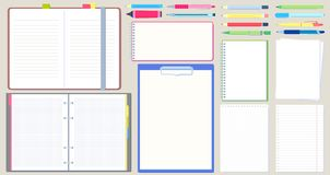 diario del cuaderno Libreta abierta, sketchbook vacío con la escritura de la pluma y el dibujo del sistema del ejemplo del vector libre illustration