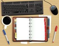 Diario del escritorio de la mesa y del cuero Stock de ilustración