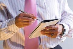 Diario del hombre de negocios Imagen de archivo libre de regalías
