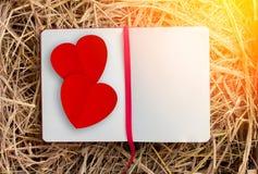 Diario della pagina in bianco sul contenitore di fieno con forma rossa del cuore di Paer jpg Immagini Stock Libere da Diritti