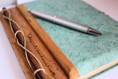Diario di Agend con la penna Fotografia Stock