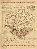 Diario di Frankentsein con cervello umano, l'occhio e le formule meccanici di per la matematica Immagine Stock