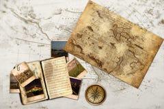 Diario di viaggio di vecchio modo fotografie stock