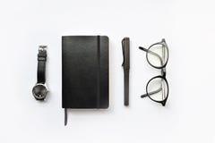 Diario, penna ed orologio in bianco Immagini Stock