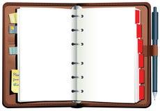 Diario rilegato dello scrittorio del cuoio illustrazione di stock