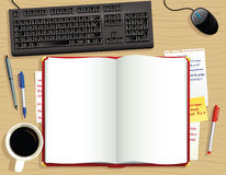 Diario rojo del escritorio desde arriba Libre Illustration