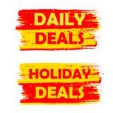 Diario y etiquetas dibujadas de los tratos del día de fiesta, amarillas y rojas Fotografía de archivo libre de regalías