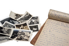 Diario y fotos viejos Foto de archivo