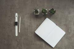 Diarios y reloj que localizan en lugar de trabajo Foto de archivo libre de regalías