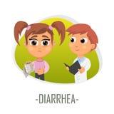 Diarréläkarundersökningbegrepp också vektor för coreldrawillustration Arkivbilder