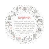 Diarrea de los iconos en el círculo ilustración del vector
