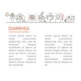 diarrea Síntomas y prospecto del tratamiento ilustración del vector