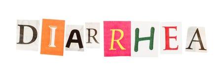 Diarrhöeaufschrift von herausgeschnittenen Buchstaben Stockbilder