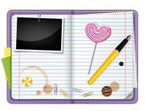 Diary. Vector illustration of diary with lollipop Stock Photo