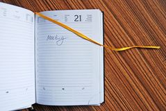Diary. Detail of diary on the table Royalty Free Stock Photography