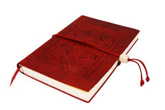 Diary. A red leather bound diary isolated on a white background.  A small red bookmark is sticking out the bottom Stock Image