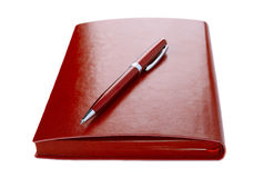 Diary and ball pen Stock Photo