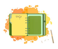 Diary with blank list. Isolated illustration. Vector EPS 10. Concept designer green notepad Stock Image