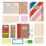 Diary, blank papers, notepad and other organizer tools. Vector pictures set isolate Royalty Free Stock Image