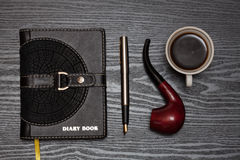 Diary book and coffee Royalty Free Stock Images