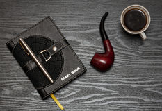 Diary book and coffee Stock Image