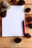 Diary book with pine cones on wood background. Stock Images