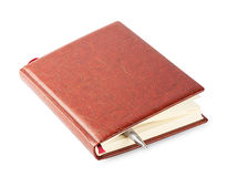 Diary with a brown leather cover and pen Royalty Free Stock Image