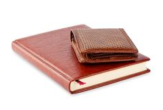 Diary and brown leather purse Stock Photography