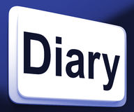 Diary Button Shows Online Planner Or Schedule Stock Photography