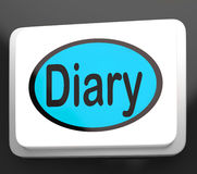 Diary Button Shows Online Planner Or Schedule Royalty Free Stock Photo